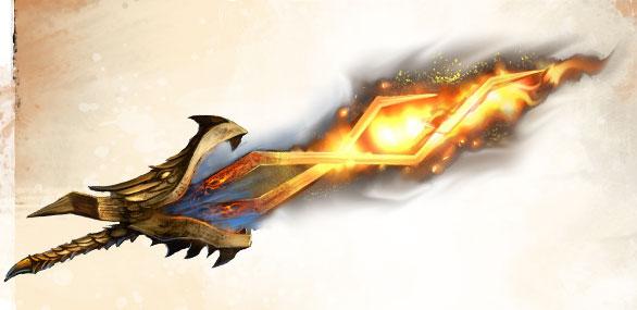 gold fiery dragon sword