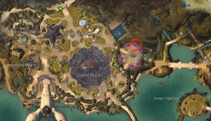 Location of the Lion's Arch Asura Gate to Southsun Cove